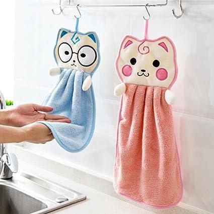 Amazon Com Jeeke Hanging Hand Towels New Cute Cat Cartoon