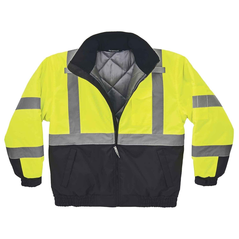 4XL Ergodyne GloWear 8377 ANSI Black Bottom High Visibility Lime Thermal Bomber Jacket