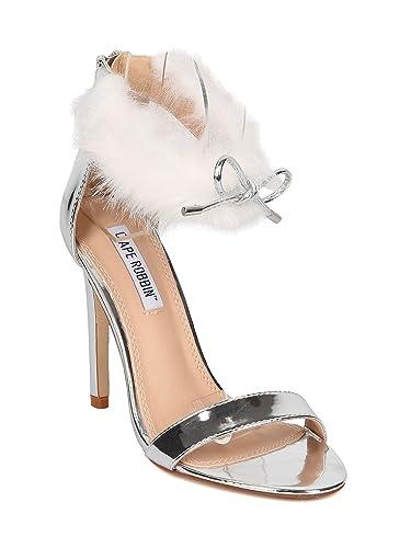 9af552b9c87 CAPE ROBBIN FE36 Women Metallic Leatherette Bow Tie Furry Ankle Cuff Stiletto  Sandal GE36 - Silver