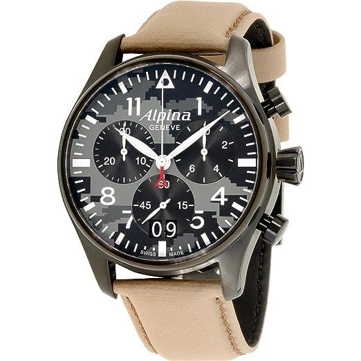Alpina Startimer Reloj de Hombre Cuarzo 44mm Correa de Cuero AL-372BGMLY4FBS6: Amazon.es: Relojes