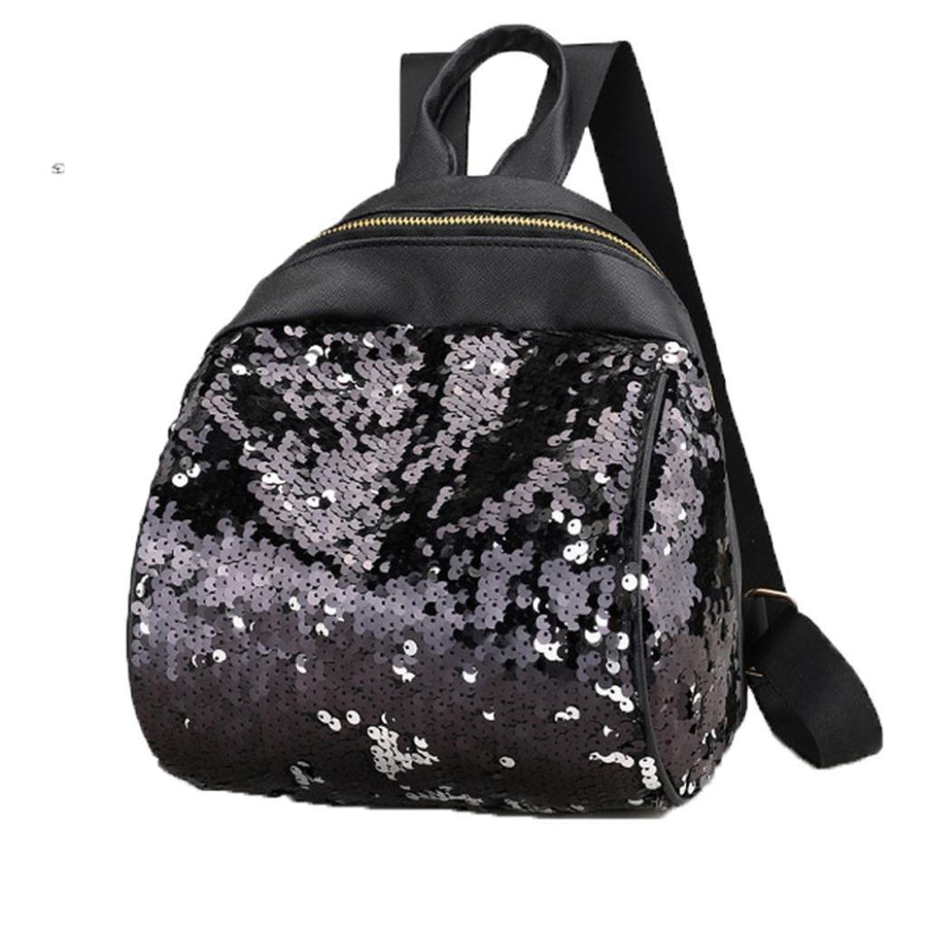 DDLBiz Women Girl Cute Holographic Backpack Travel Rucksack Shoulder Shiny Sequins School Bags (Black)