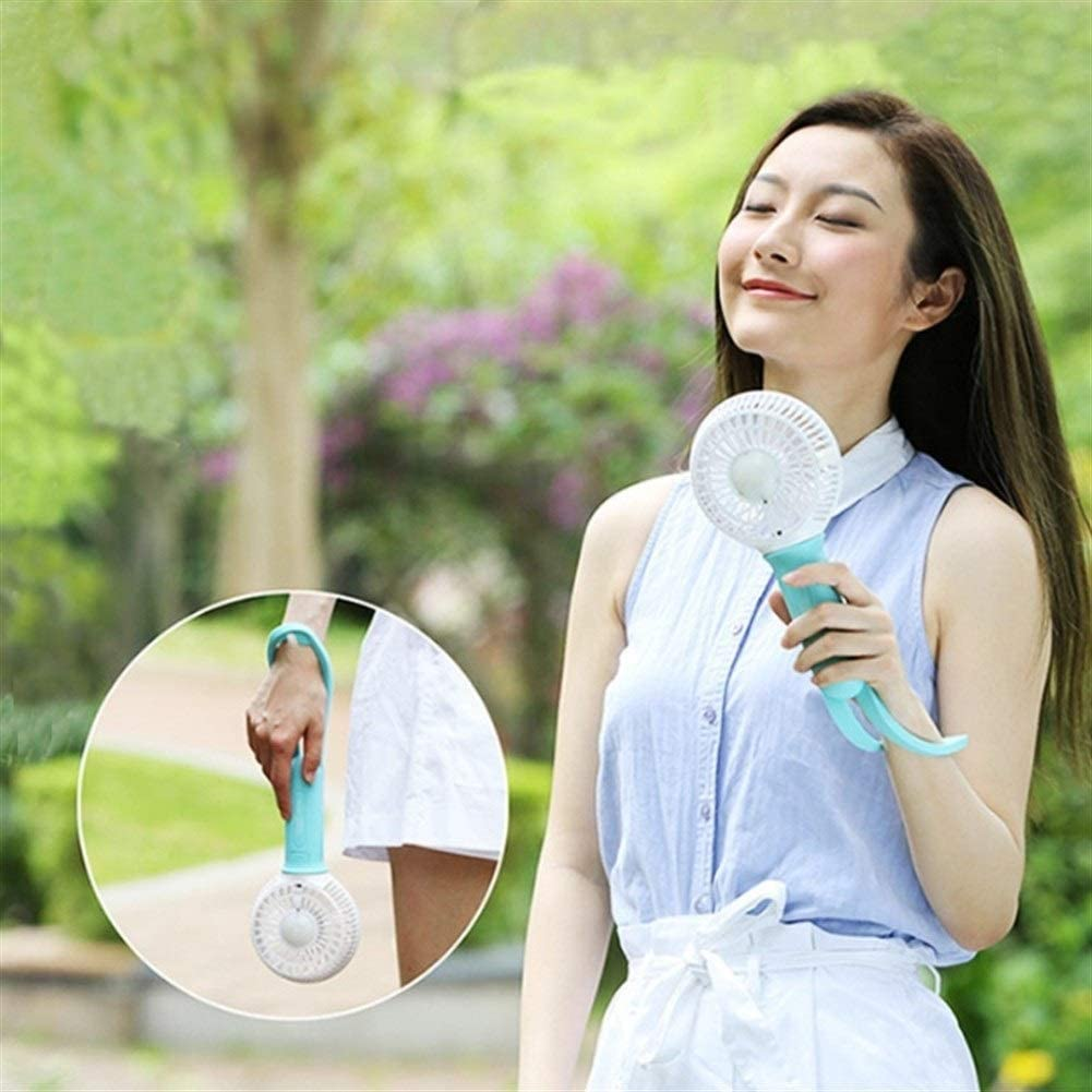 Air Cooler Mini USB Hand Fan Battery Rechargeable Cooling Electric Fan Led Light Air Cooler Adjustable Blower Color : Pink