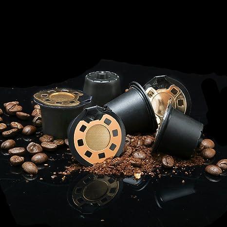 brbhom rellenable cápsulas MONODOSIS 24 K oro reutilizable filtros de café Nespresso Cápsula Set de 6
