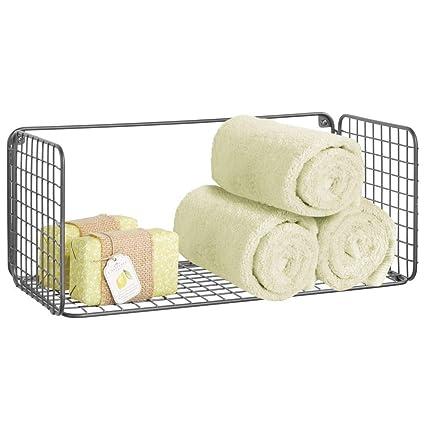 mDesign Balda para baño plegable – Práctica repisa de pared de alambre metálico – Cesta de