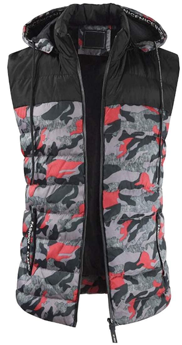 WAWAYA Mens Winter Lovers Clothes Loose Fit Trendy Warm Camo Casual Sleeveless Puffer Vest