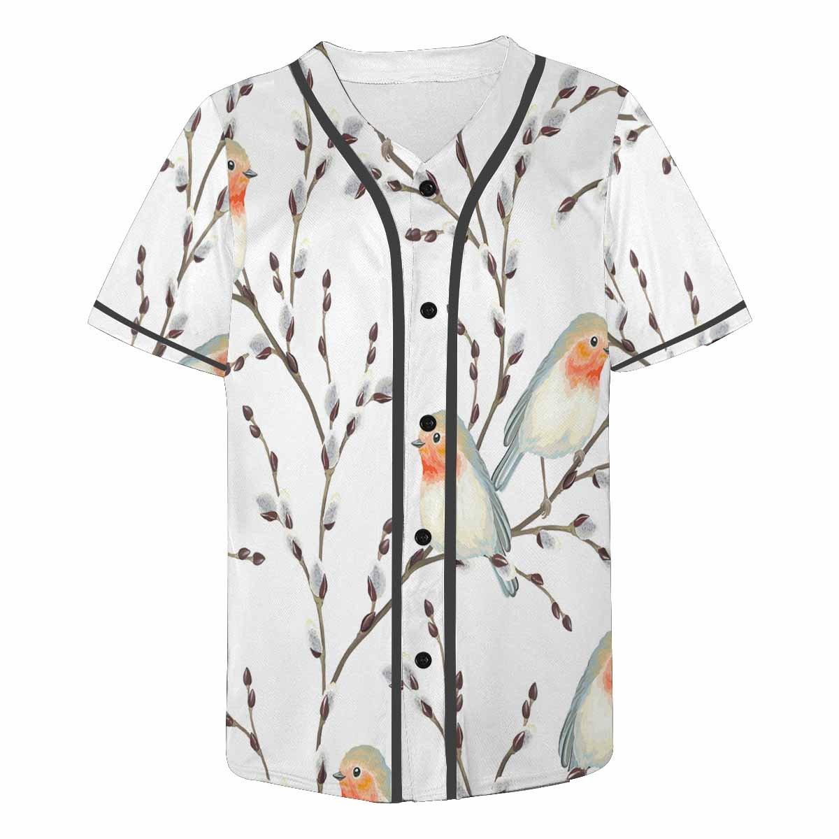 INTERESTPRINT Mens Button Down Baseball Jersey Willow Branches and Birds Robin