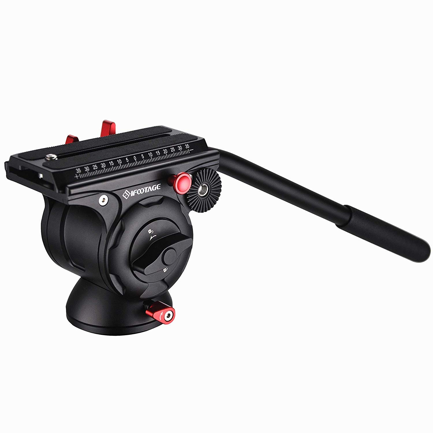 IFOOTAGE Video Tripod Head Fluid Drag Pan Head for DSLR Cameras, Camcorder, Monopod and Tripods
