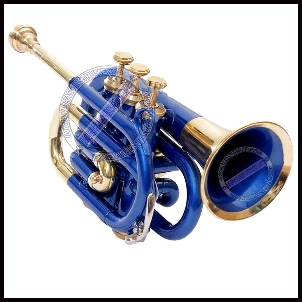 NASIR ALI POCKET TRUMPET Bb PITCH BLUE LACQUER WITH HARD CASE AND MP