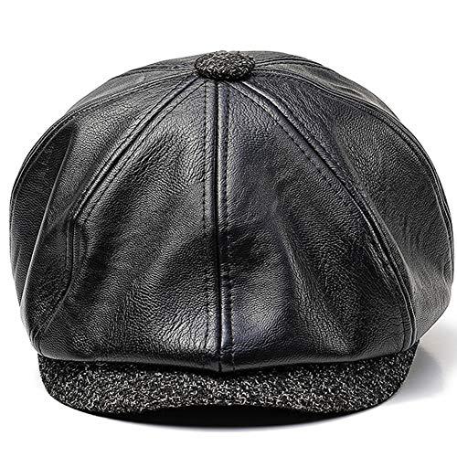 GESDY Mens Vintage Leather 8 Panel Cabbie Newsboy Beret Octagonal Cap Fleece Warm Driving Hat