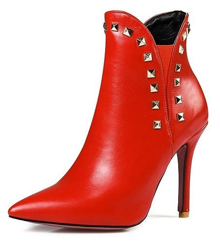 SHOWHOW Damen Sexy Spitz Reißverschluss Stiletto Kurzschaft Stiefel Rot 36 EU SN2JPK79