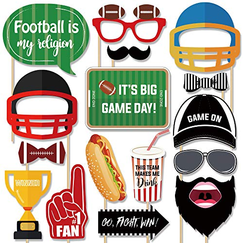 Football Photo Booth Props Kit - 26 Counts Super Bowl Game Day Decoration Supplies Gift, Fun Photography Posing Signs for Kids Boys Adults Sports Theme Birthday Tailgating Party Favors Accessories