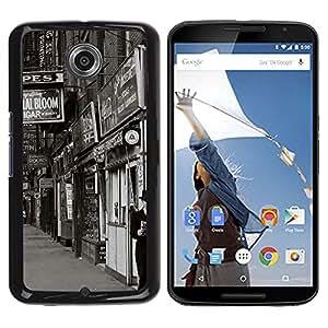Caucho caso de Shell duro de la cubierta de accesorios de protección BY RAYDREAMMM - Motorola NEXUS 6 / X / Moto X Pro - Street View Shops Black White Retro Photo