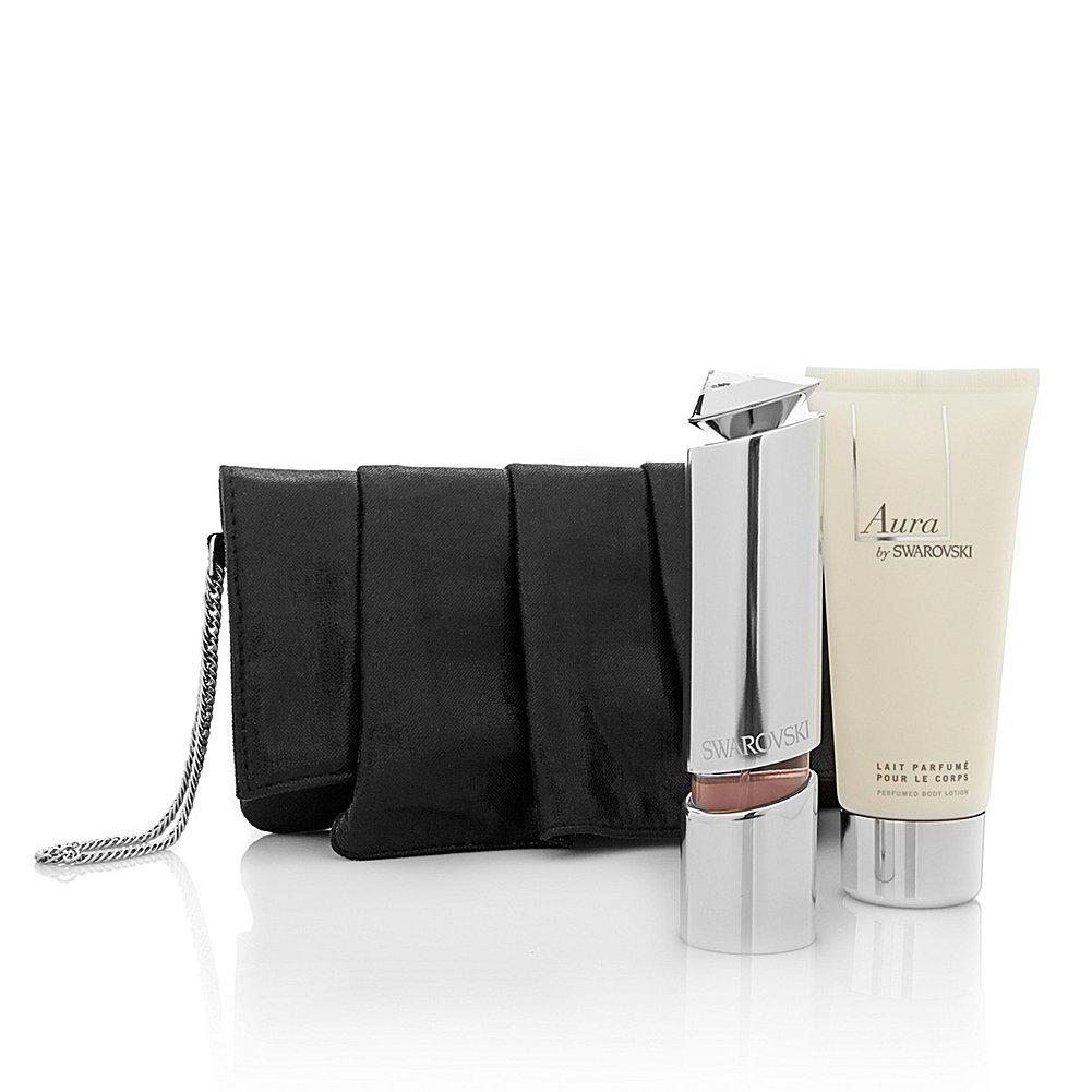 Aura by Swarovski Eau de Parfum Refillable Spray 30ml, Perfumed Body Cream 100ml & Pouch S9000490