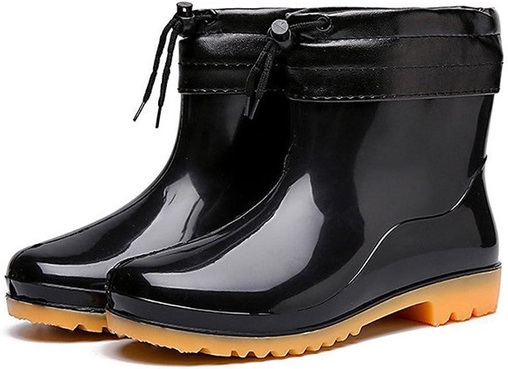 Flyrioc Men's Antiskid Ankle Short Rubber Shoes Washing Work Boots Garden Shoes