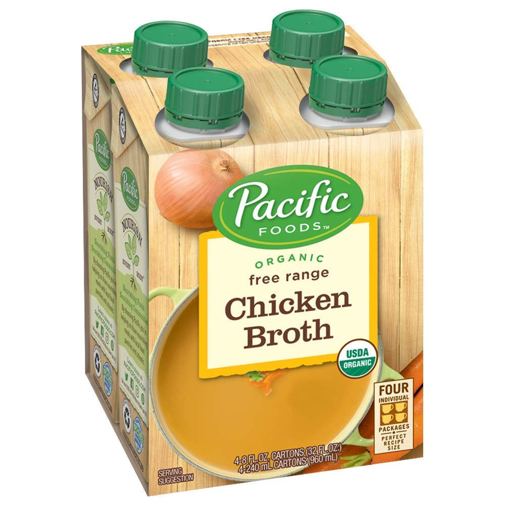 Pacific Foods Organic Free Range Chicken Broth, 8oz, 24-pack Keto Friendly