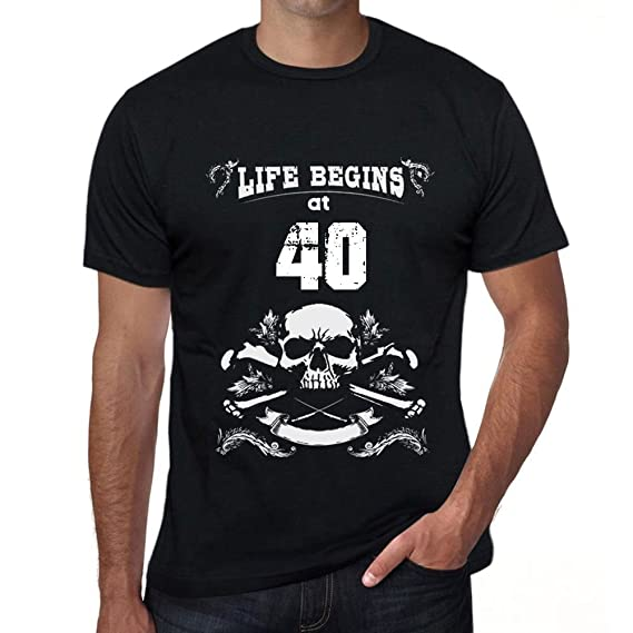 One in the City Life Begins at 40 Hombre Camiseta Negro ...
