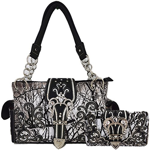 Camouflage Crown Buckle Western Style Concealed Carry Purse Country Handbag Women Shoulder Bag Wallet Set (Black)