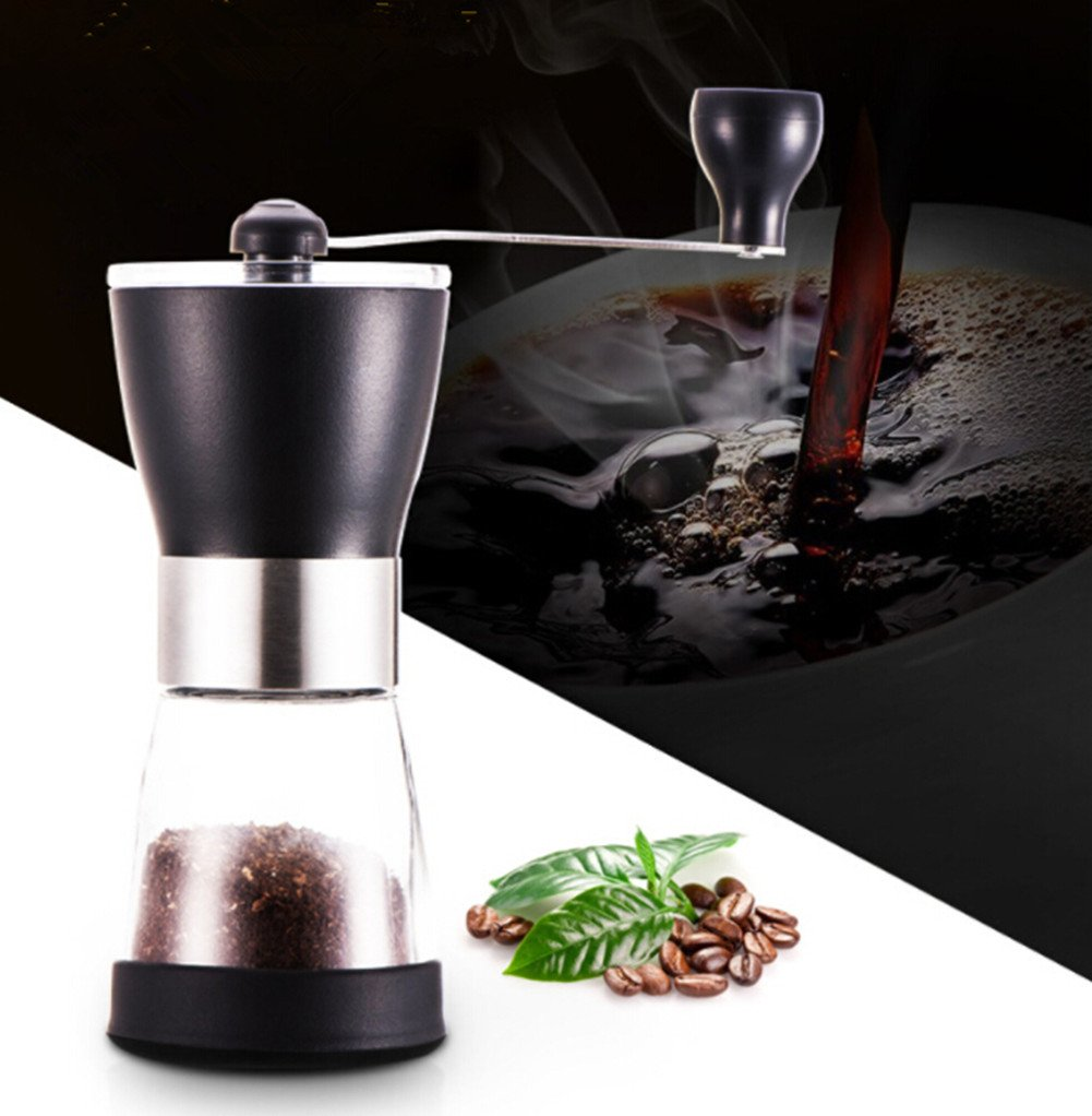Manual Coffee Grinder, Stainless Steel Adjustable Spice Herb Pepper Mill with Ceramic Burrs