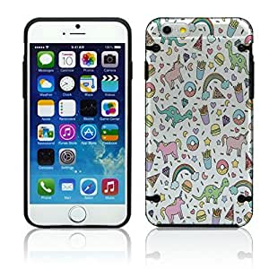"""NEW Apple iPhone 6 (4.7"""") Dinosaur Cute Pattern Fashion Bumper Case Skin Cover Teen Matte Black Clear Transparent TPU Sides Girly Cell Phone Accessories"""