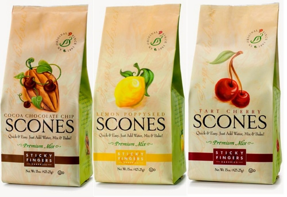Sticky Fingers Premium All Natural Scone Mix Trio (Lemon Poppyseed, Chocolate Chip, Tart Cherry)