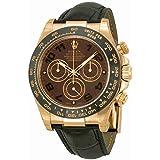 Rolex Daytona Chocolate Automatic Black Leather Mens Watch 116515CHOAL