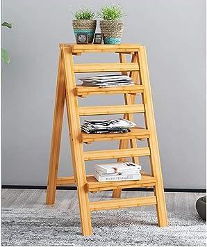 Stepladder Escalera de bambú de 3/4 pasos que dobla capacidad de carga antirresbaladiza multifuncional del hogar de múltiples funciones portátil 150kg capacidad de carga (Color : A, Size : 4 Steps): Amazon.es: