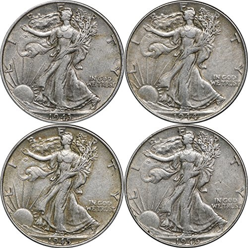 1943, 1944, 1945 & 1946 Walking Liberty Silver Half Dollars, 50C, 4 XF Coins, Extremely Fine