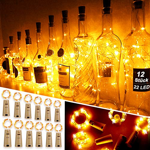 Mr.Twinklelight® Wine Bottle Lights,12 Pack 2.2M 22LEDs Fairy Lights Battery Operated with Cork Copper Wire String…