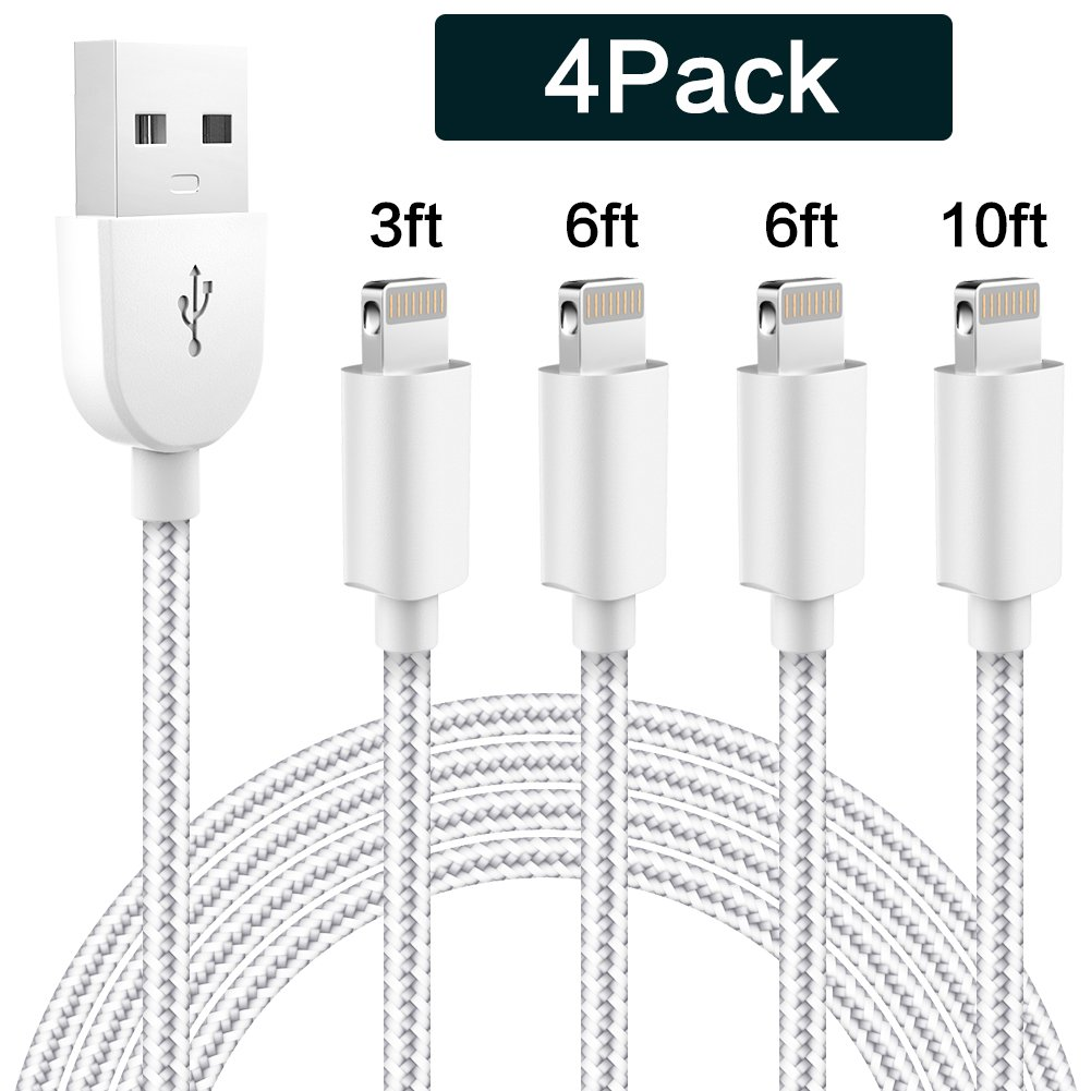 WUXIAN Phone Cable 4Pack 3FT 6FT 6FT 10FT Nylon Braided USB Charging & Syncing Cord Compatible iPhone Charger X iPhone 8 8Plus 7 7 Plus 6s 6s Plus 6 6 Plus and other series(Silver&Gray)