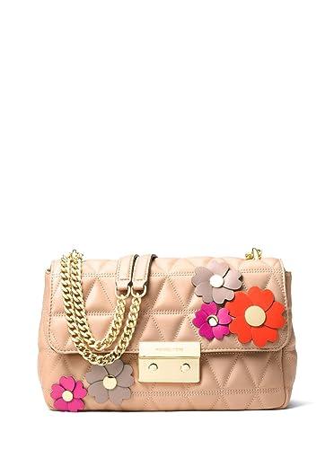67cbfbf7b48c MICHAEL Michael Kors Sloan Large Floral Applique Shoulder Bag - Oyster   Handbags  Amazon.com