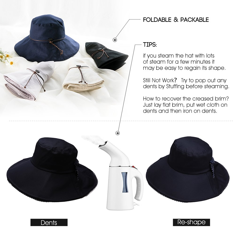 05f483ef1 Siggi Summer Bill Flap Cap SPF 50 Cotton Sun Golf Hat with Neck Cover Cord  Crushable Wide Brim for Women Navy