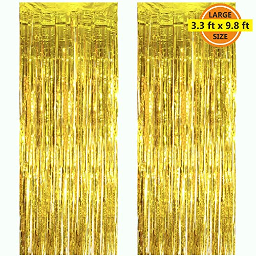 2 Pack 3.3 ft x 9.8 ft Foil Curtains Metallic Fringe Curtains Shimmer Curtain Photo Backdrop for Halloween Christmas Birthday Party Wedding Decor (Gold) -