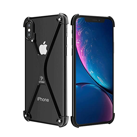 meet 1f52f e1b16 OATSBASF Bumper Case for iPhone X/iPhone Xs, Slim Thin X-Frame Metal Case  with Soft EVA Inner, Shock Absorption Edge Protectors Support Wireless ...