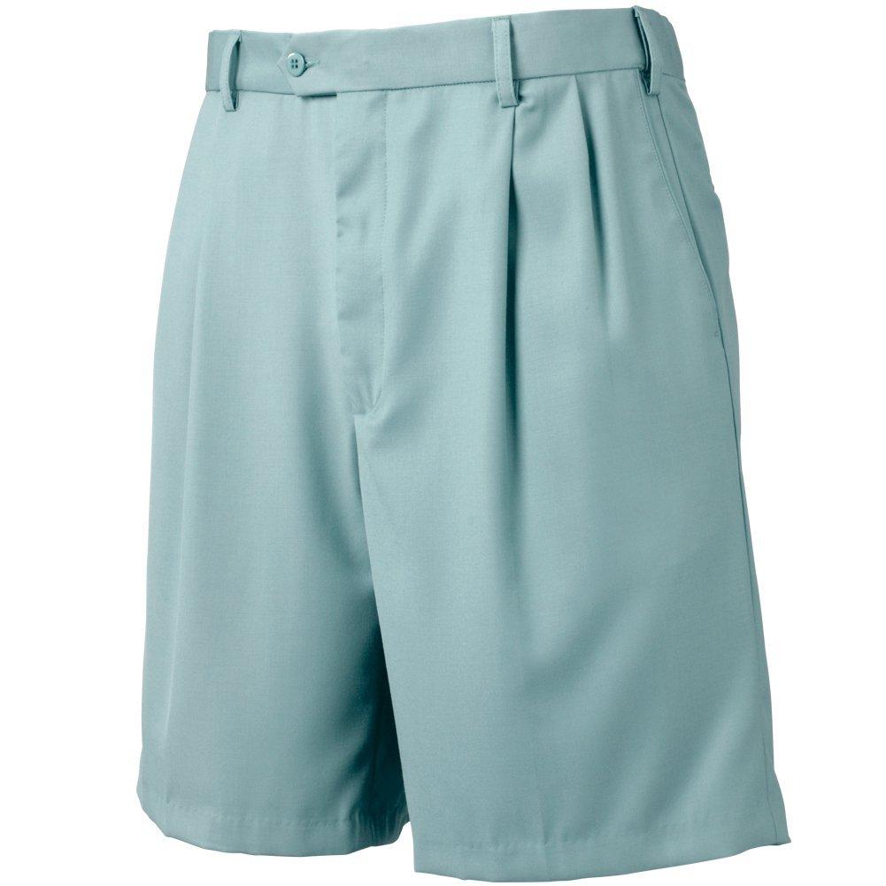 Bocaccio Mens Pleated Expandable Waistband Shorts Light Blue 40