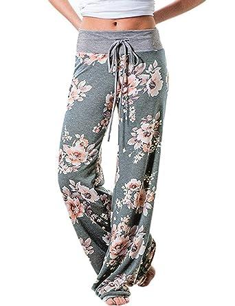 Kinikiss Mujer Pantalones Anchos Casual Floral Talle Alto ...