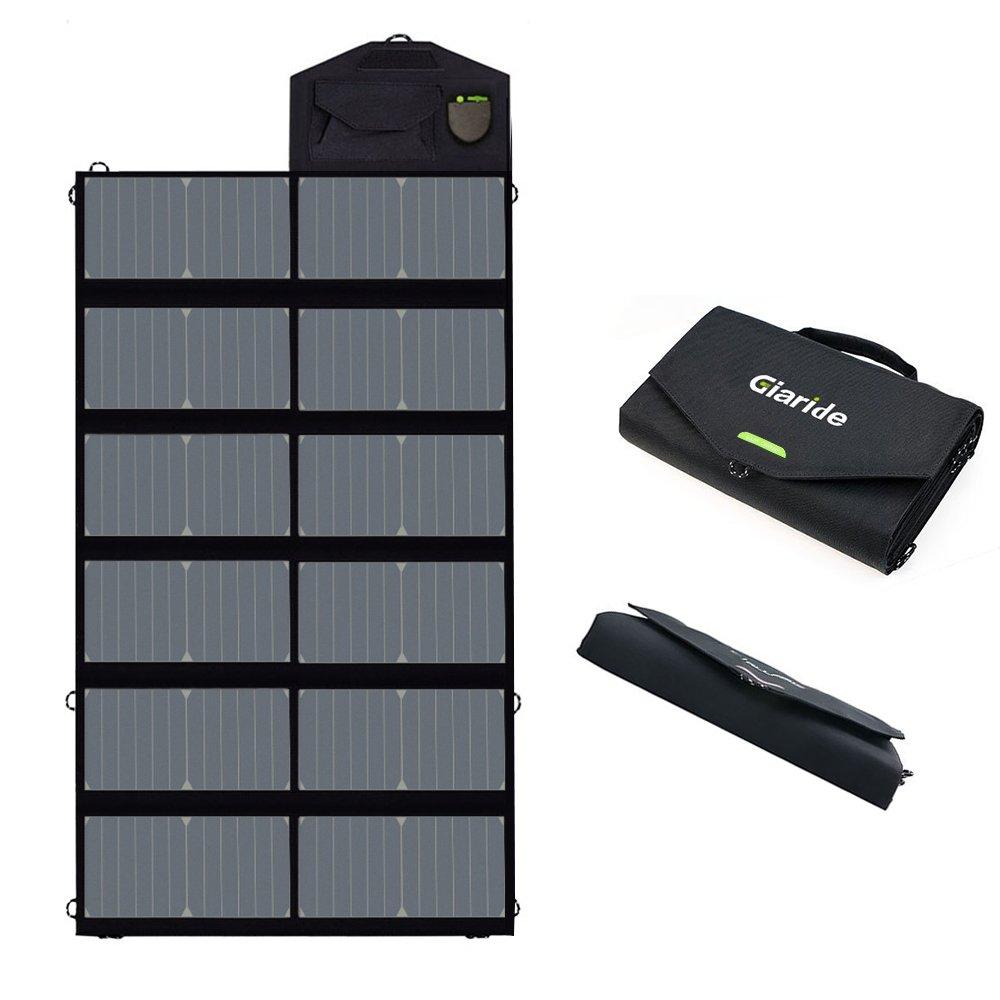 GIARIDE 12V 18V 80W Cargador Solar Sunpower Panel (18V DC, 5V USB Salida) para Ordenador Portátil, Cuaderno, Tableta, iPad, iPhone, Samsung, Coche / Barco / Batería De RV y Más