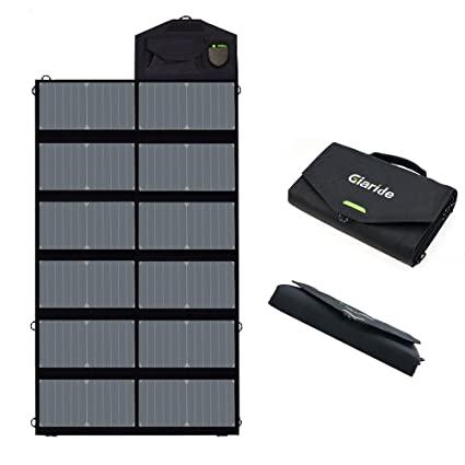 GIARIDE Foldable Solar Charger Sunpower Solar Panel 18V 80W Outdoor  Portable Charger Camping Travel Charger Dual USB+18V DC Output for 12V Car