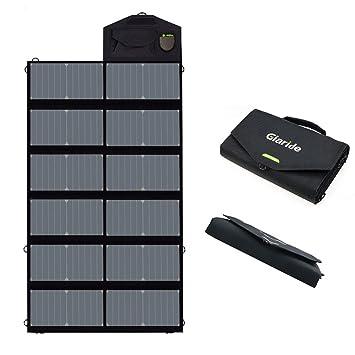 GIARIDE 12V 18V 80W Cargador Solar Sunpower Panel (18V DC, 5V USB Salida) para Ordenador Portátil, Cuaderno, Tableta, iPad, iPhone, Samsung, Coche / ...
