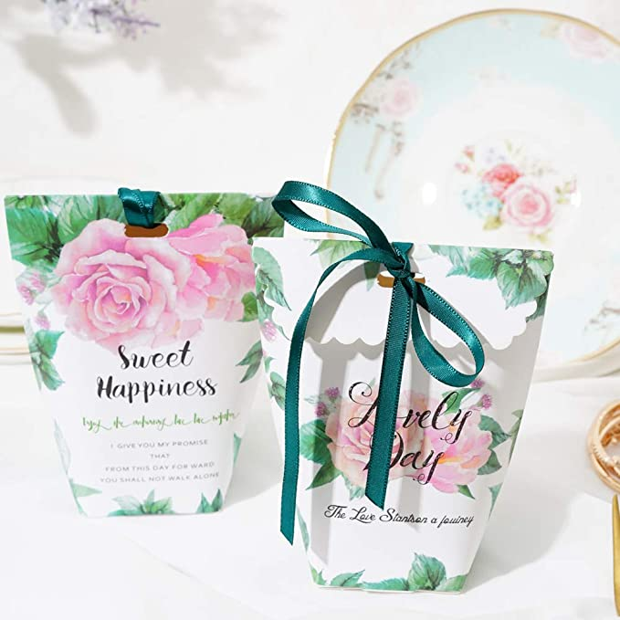 Amazon.com: LONGBLE 50 Pcs Roses Paper Wedding Candy Boxes Wedding Gift Box Flower Candy Bags with Slim Ribbon Decor for Birthday Party, Baby Shower, ...