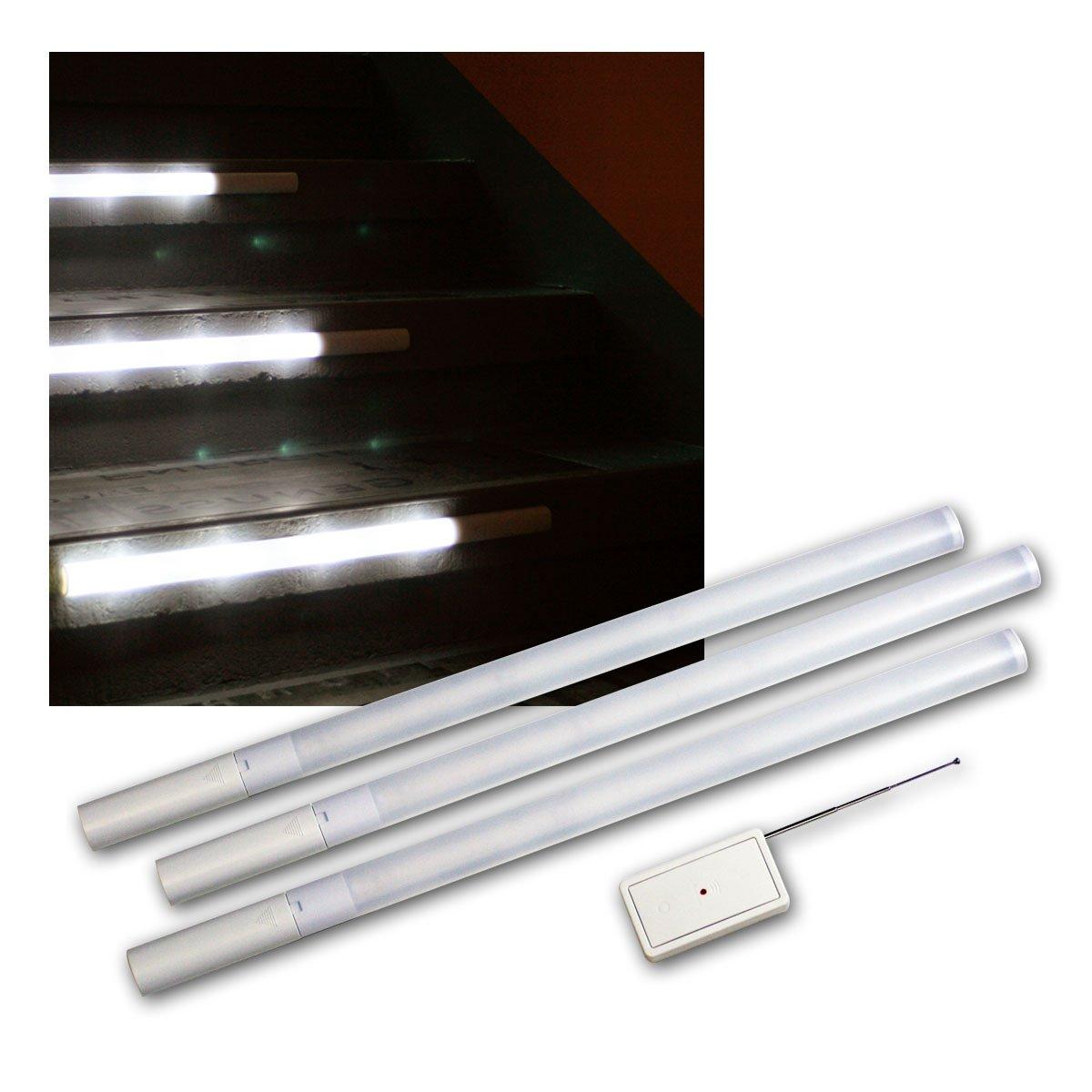 Briloner Prisma LED Stufenbeleuchtung Treppenbeleuchtung 3er SET Inkl.  Fernbedienung, 6000K, Je 4 LED Inkl. Batterien: Amazon.de: Beleuchtung