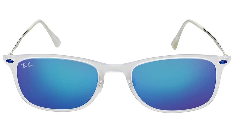 8272a2cc03f Amazon.com  Ray-Ban RB4225-646 55 Sunglasses Trasp Gunmetal w Blue Mirror  52mm  Clothing