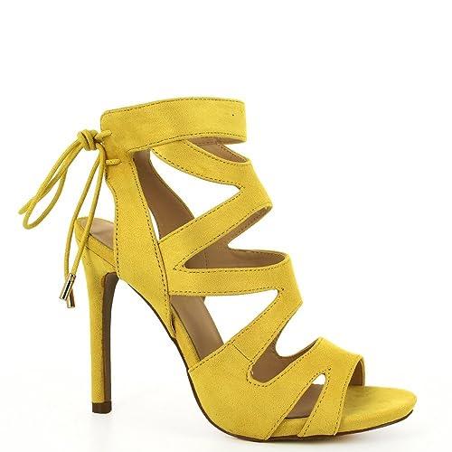 Ideal Shoes Sandali Donna, Giallo (Giallo), 40