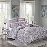 Comfort Spaces - Comforter Set King Bedding Set - Kashmir 8 Piece Plum Purple - Paisley Print with Solid Plum Purple Reverse - Hypoallergenic Soft Microfiber Lightweight All Season King Comforter