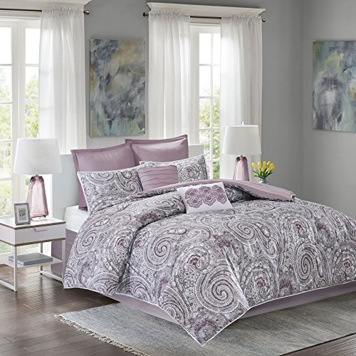 Comfort Spaces - Comforter Set Queen Bedding Set - Kashmir 8 Piece Plum Purple - Paisley make with sound Plum Reverse - Hypoallergenic Microfiber compact All Season Comforter complements Full/Queen