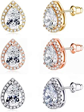 4 Pairs CZ Earrings 14K Gold Plated Hypoallergenic