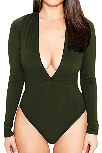 54f3ff74b8c9 CHICE IRIS Womens Plunge V-Neck Long Sleeve Bodysuit Jumpsuit Army Green S
