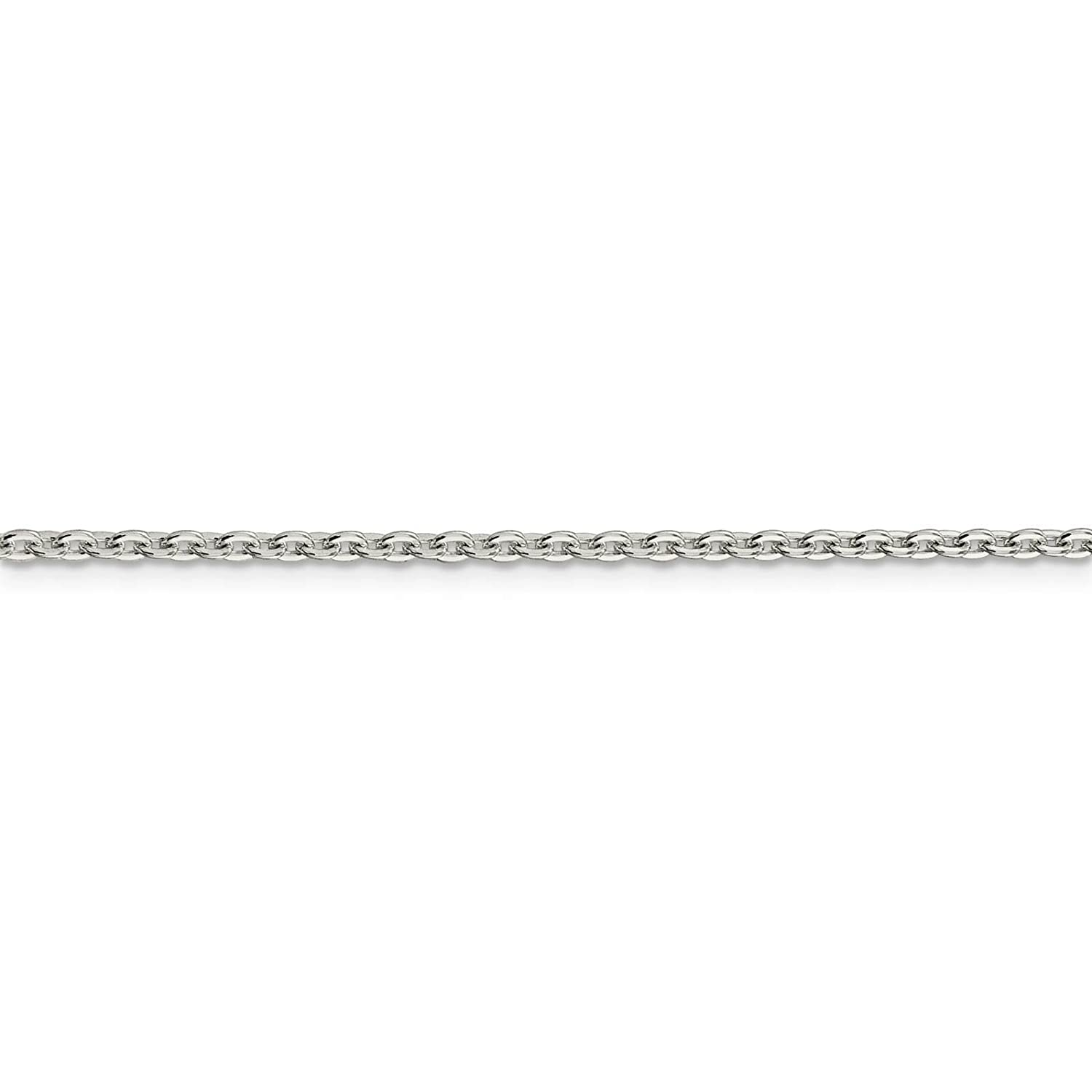 925 Sterling Silver 2mm Flat Cable Link Chain Necklace 16-24