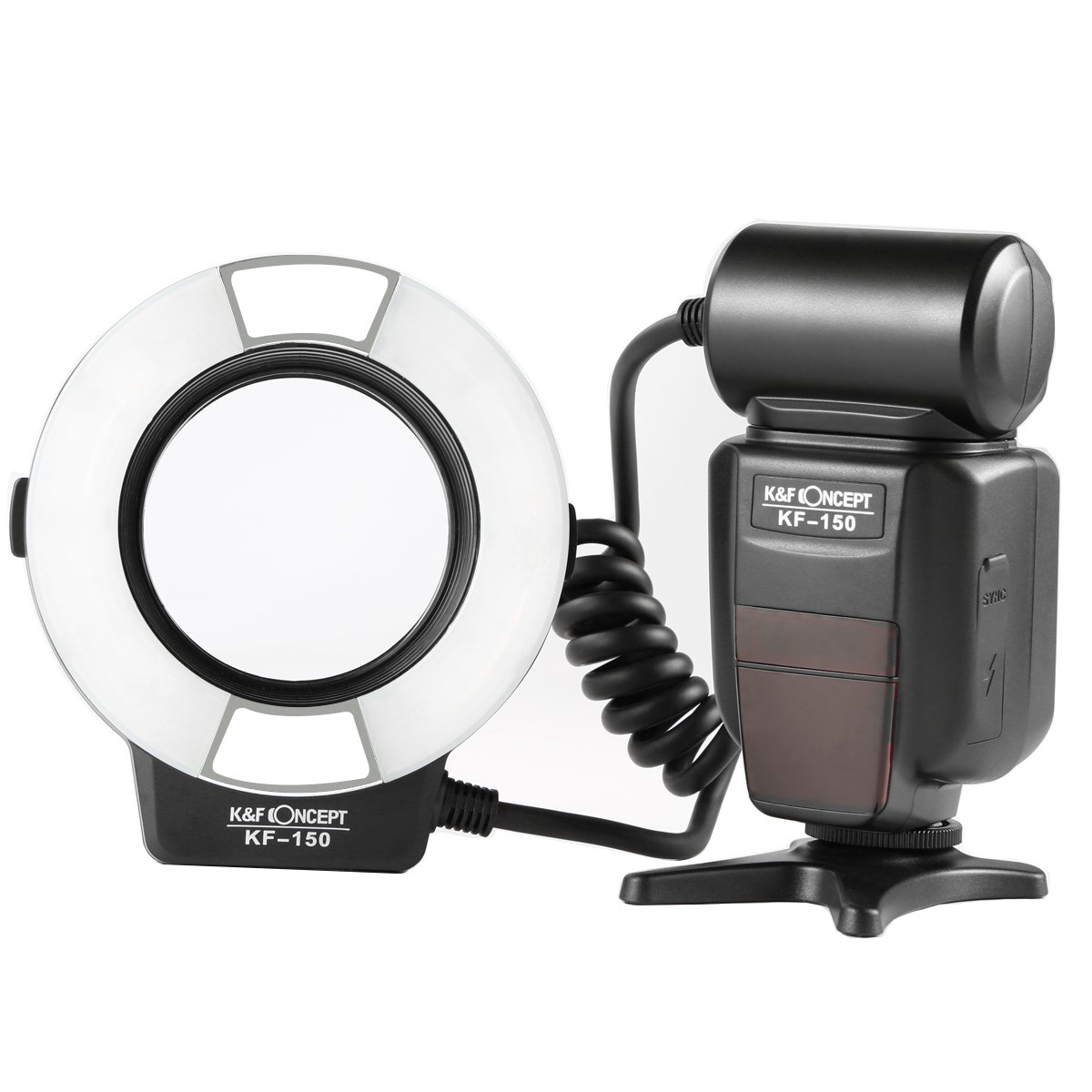 Macro Ring Light Flash, K&F Concept KF-150 E-TTL Speedlite LCD Display and Wireless Slave Function with 6pcs Adapter Rings for Canon DSLR Cameras by K&F Concept
