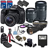 Canon EOS 80D DSLR Camera Bundle with Canon EF-S 18-55mm f/3.5-5.6 IS STM Lens + Canon EF-S 55-250mm f/4-5.6 IS STM Lens + 500mm f/8 Preset Lens - International Model At A Glance Review Image