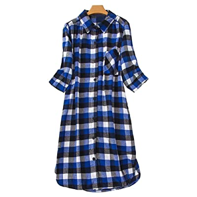 CHUNG Women Cotton Flannel Knee-Length Nightgowns 3/4 Sleeve Plaid Sleep Dress Plus Size Night Shirt(S-5X) at Women's Clothing store